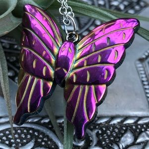 Hematite butterfly crystal carved necklace pendant